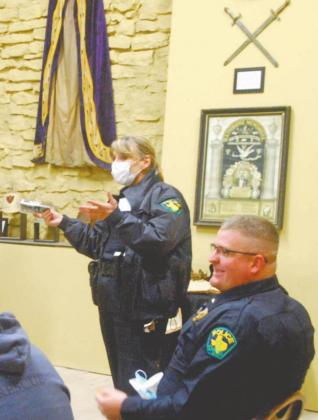 Dublin Police Investigator Nanci Wilson and Chief Cameron Ray were present for the Jan. 20 presentations with Wilson being one of several to win a door prize. Paul Gaudette | Citizen staff photo
